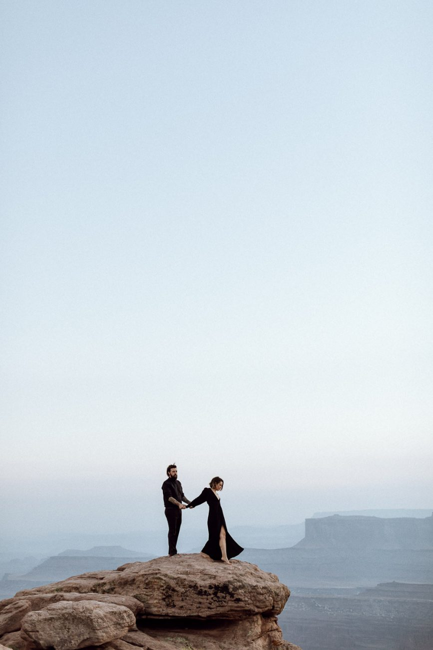 dead horse point elopement in black dress
